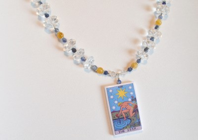 The Star card commissioned piece for a client with vintage crystals, yellow jade, and sodalite
