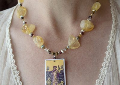 Tarot Card Necklace, 9 of Pentacles, with Citrine, Tiger's Eye, and Garnet