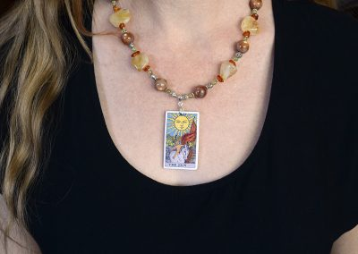 The Sun Tarot Card Necklace with Citrine, Sunstone, Amber, and Peridot