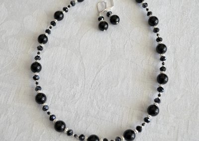 Black Onyx Beaded necklace and earrings set with Spinel and Swarovski Crystals