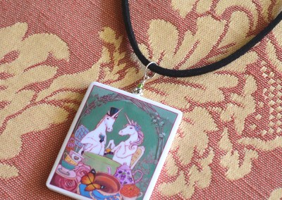 Tea for Two necklace eoriginal painting made into wearable art