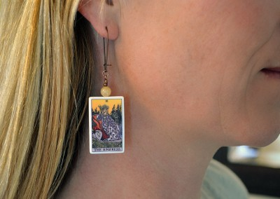 Tarot card earrings, The Empress (and Emperor)