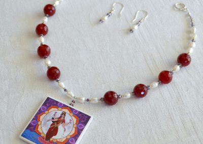 Lakshmi with Red Jade and Freshwater Pearls