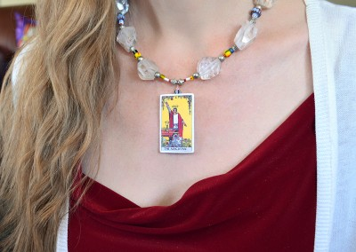 The Magician Tarot Necklace with Quartz crystals with glass african trading beads