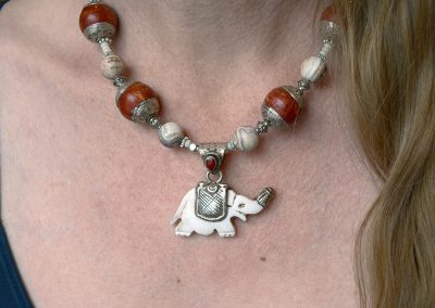 Vintage Tibetan Elephant Pendant with Red Coral and Porcelain Jasper