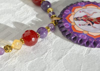 Lakshmi with Red Jade, Amethyst, and Citrine detail