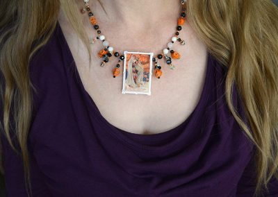 The Magic of Halloween Necklace, Skulls, Howlite, Onyx, Sardonyx, Carnelian, White Agate, Moonstone, Snowflake Obsidian